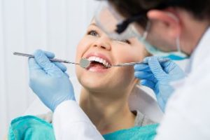 Woman having a dental exam