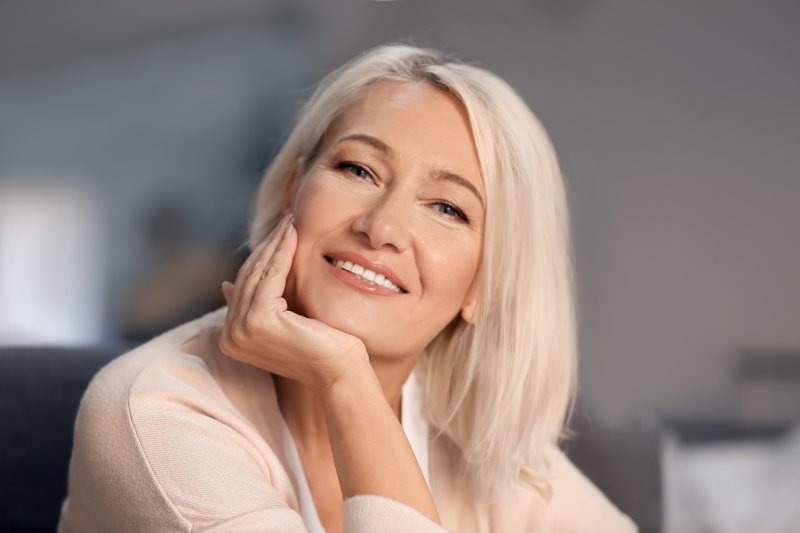 beautiful woman smiling perfect teeth